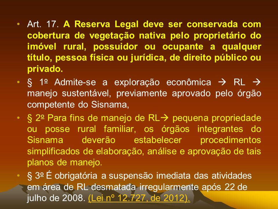 Art. 17. A Reserva Legal deve ser conservada com cobertura de vegetação nativa pelo proprietário do imóvel rural, possuidor ou ocupante a qualquer tít
