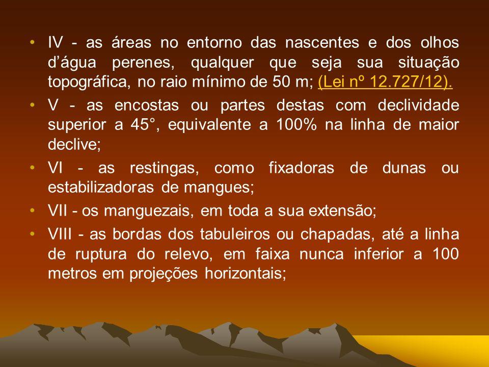 IX - no topo de morros, montes, montanhas e serras, com altura mínima de 100 (cem) metros e inclinação média maior que 25°, as áreas delimitadas a partir da curva de nível correspondente a 2/3 (dois terços) da altura mínima da elevação sempre em relação à base, sendo esta definida pelo plano horizontal determinado por planície ou espelho dágua adjacente ou, nos relevos ondulados, pela cota do ponto de sela mais próximo da elevação; X - as áreas em altitude superior a 1.800 (mil e oitocentos) metros, qualquer que seja a vegetação;