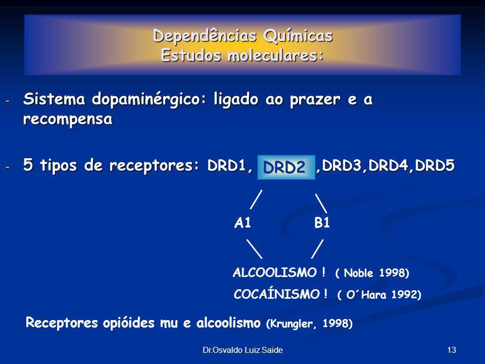 13Dr.Osvaldo Luiz Saide Dependências Químicas Estudos moleculares: - Sistema dopaminérgico: ligado ao prazer e a recompensa - 5 tipos de receptores: D