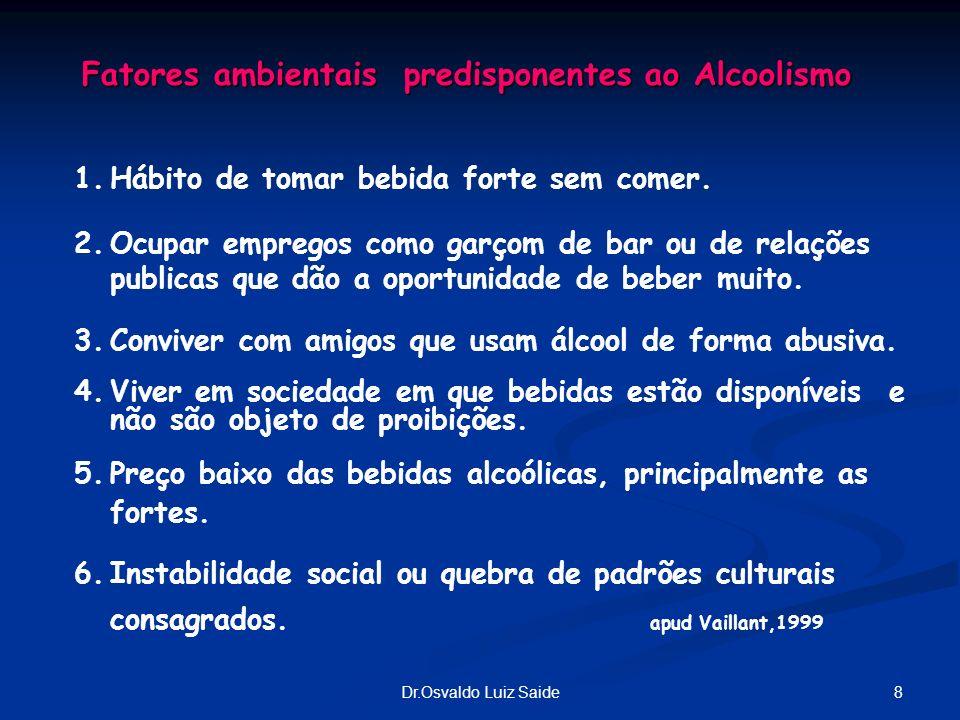 8Dr.Osvaldo Luiz Saide Fatores ambientais predisponentes ao Alcoolismo 1.Hábito de tomar bebida forte sem comer. 2.Ocupar empregos como garçom de bar