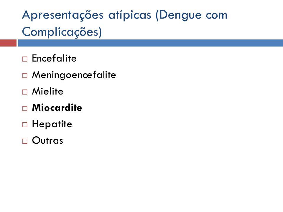 Apresentações atípicas (Dengue com Complicações) Encefalite Meningoencefalite Mielite Miocardite Hepatite Outras
