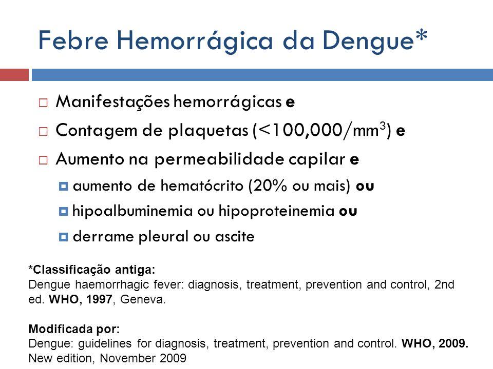 Febre Hemorrágica da Dengue* Manifestações hemorrágicas e Contagem de plaquetas (<100,000/mm 3 ) e Aumento na permeabilidade capilar e aumento de hema