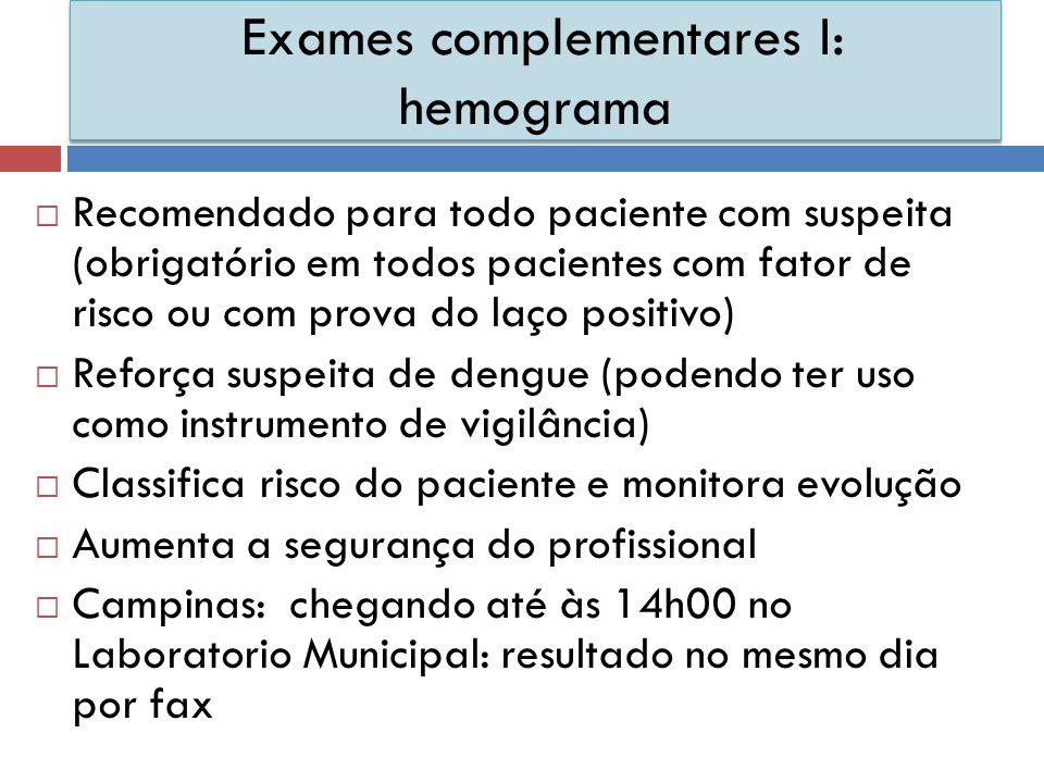 Exames complementares I: hemograma Recomendado para todo paciente com suspeita (obrigatório em todos pacientes com fator de risco ou com prova do laço