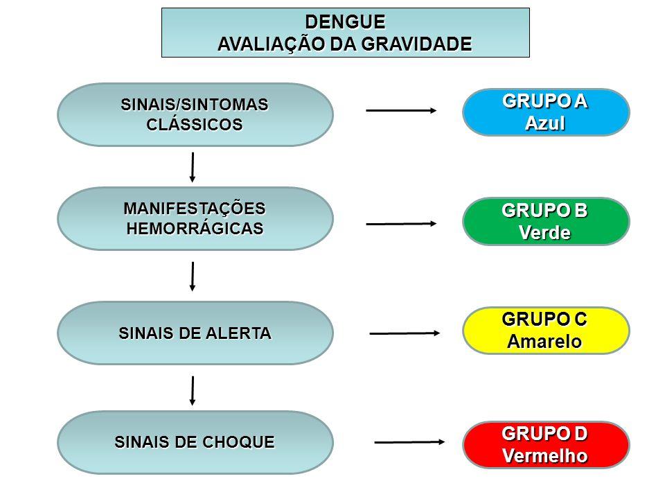 DENGUE AVALIAÇÃO DA GRAVIDADE SINAIS/SINTOMAS CLÁSSICOS MANIFESTAÇÕES HEMORRÁGICAS SINAIS DE ALERTA SINAIS DE CHOQUE GRUPO A Azul GRUPO B Verde GRUPO