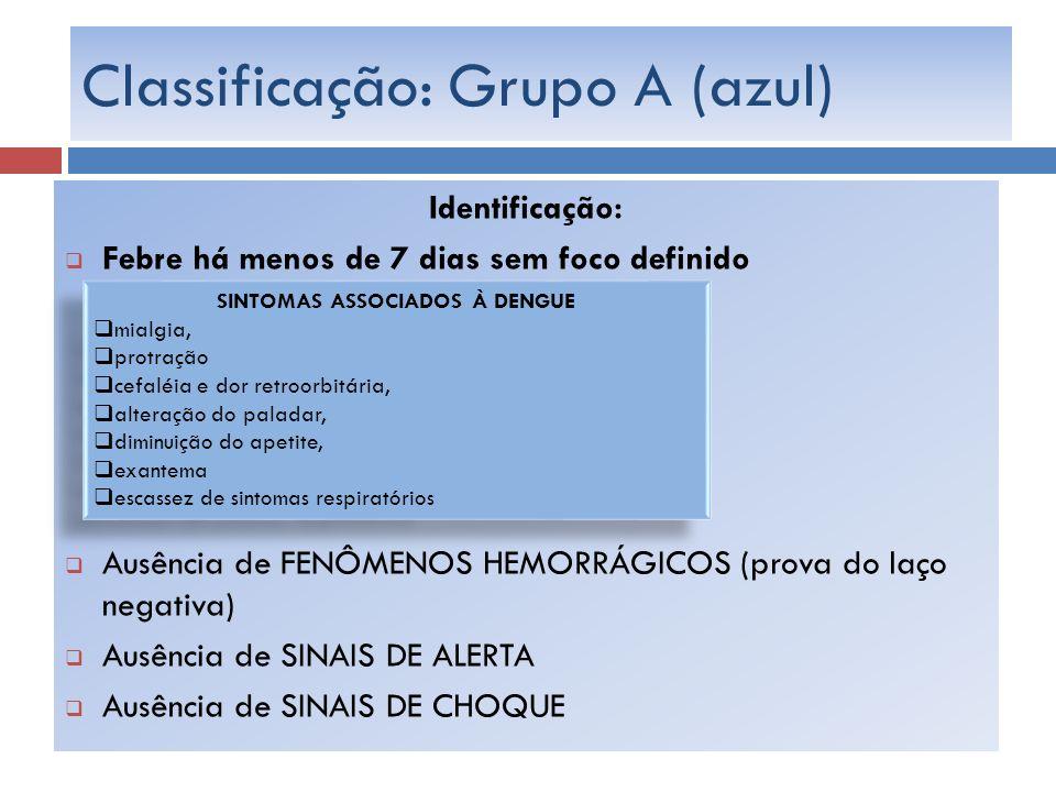 Classificação: Grupo A (azul) Identificação: Febre há menos de 7 dias sem foco definido Ausência de FENÔMENOS HEMORRÁGICOS (prova do laço negativa) Au