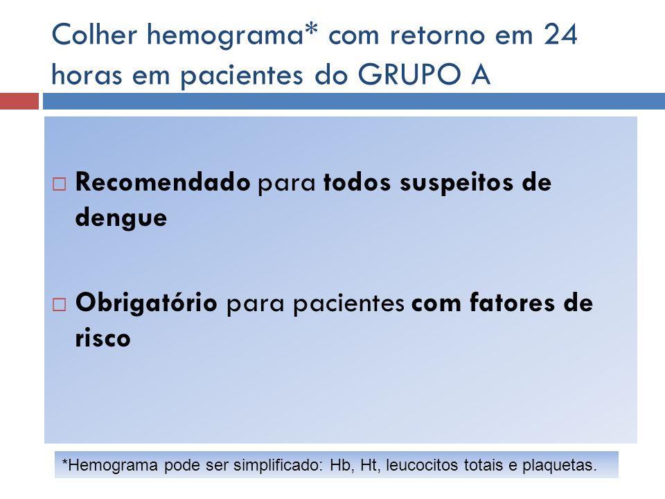 Colher hemograma* com retorno em 24 horas em pacientes do GRUPO A Recomendado para todos suspeitos de dengue Obrigatório para pacientes com fatores de
