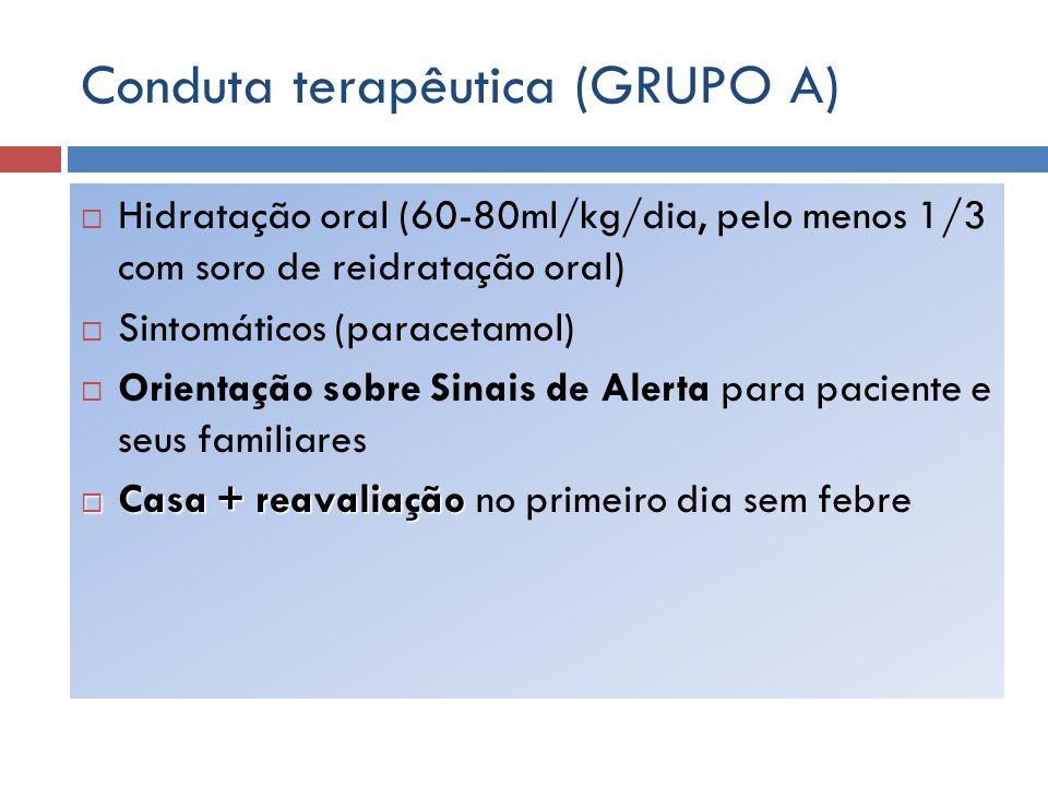 Conduta terapêutica (GRUPO A) Hidratação oral (60-80ml/kg/dia, pelo menos 1/3 com soro de reidratação oral) Sintomáticos (paracetamol) Orientação sobr
