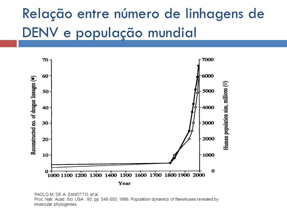 Relação entre número de linhagens de DENV e população mundial PAOLO M. DE A. ZANOTTO, et al. Proc. Natl. Acad. Sci. USA. 93, pp. 548-553, 1996. Popula