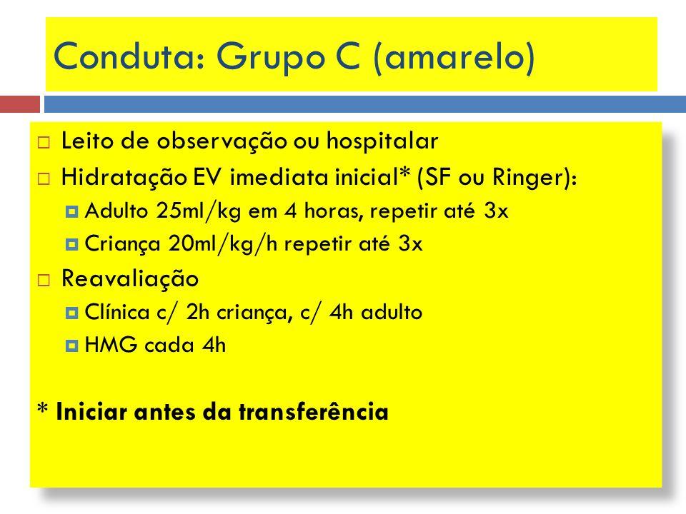 Conduta: Grupo C (amarelo) Leito de observação ou hospitalar Hidratação EV imediata inicial* (SF ou Ringer): Adulto 25ml/kg em 4 horas, repetir até 3x