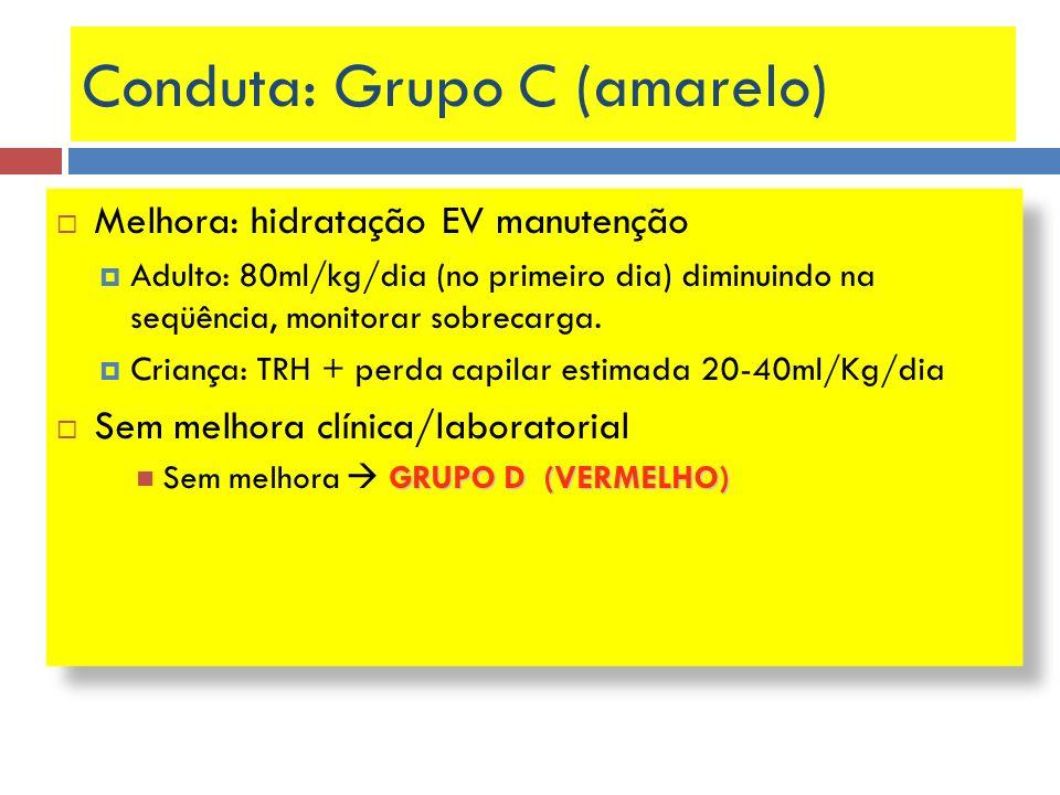 Conduta: Grupo C (amarelo) Melhora: hidratação EV manutenção Adulto: 80ml/kg/dia (no primeiro dia) diminuindo na seqüência, monitorar sobrecarga. Cria