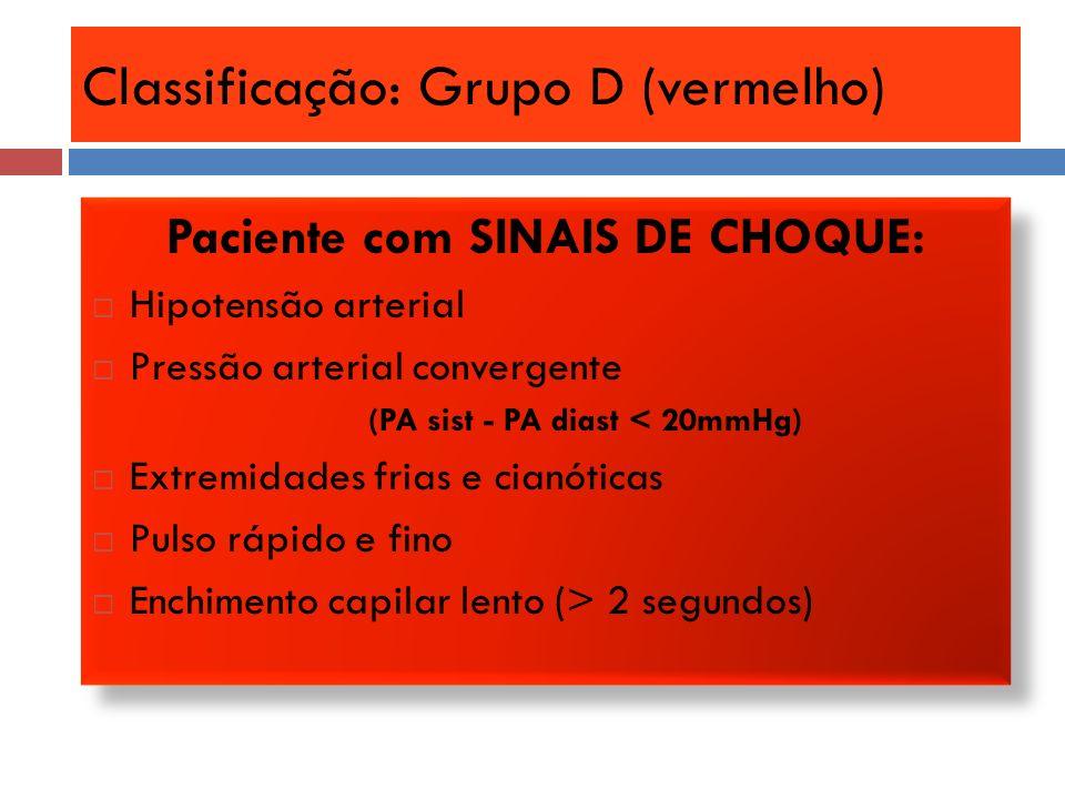 Classificação: Grupo D (vermelho) Paciente com SINAIS DE CHOQUE: Hipotensão arterial Pressão arterial convergente (PA sist - PA diast < 20mmHg) Extrem
