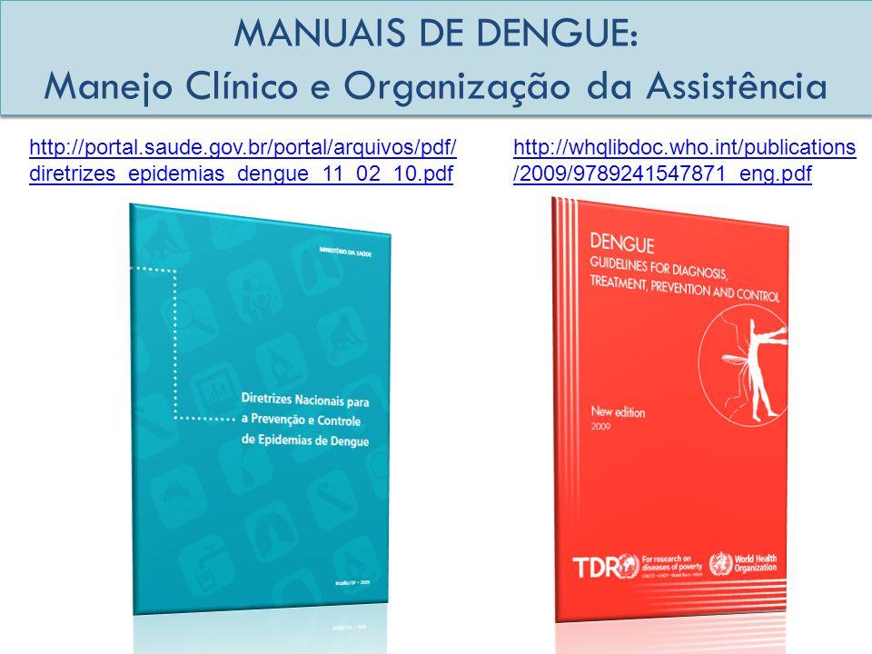 MANUAIS DE DENGUE: Manejo Clínico e Organização da Assistência http://portal.saude.gov.br/portal/arquivos/pdf/ diretrizes_epidemias_dengue_11_02_10.pd