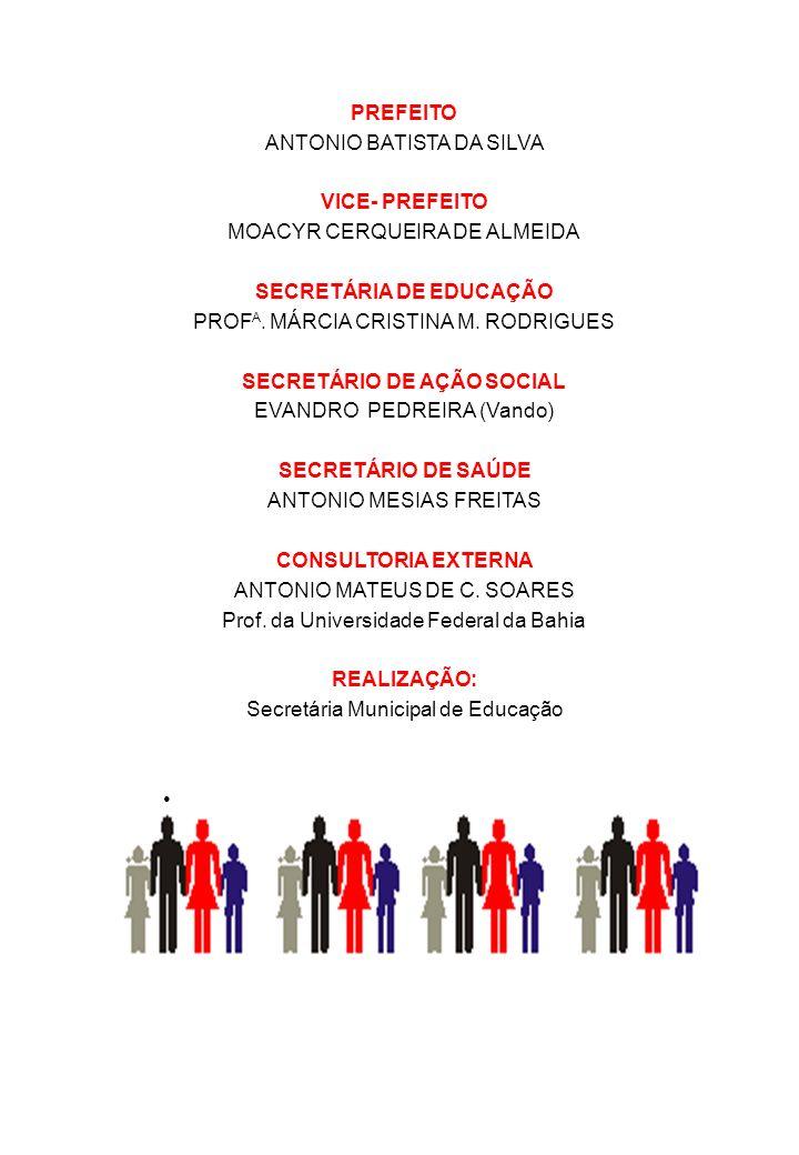 PREFEITO ANTONIO BATISTA DA SILVA VICE- PREFEITO MOACYR CERQUEIRA DE ALMEIDA SECRETÁRIA DE EDUCAÇÃO PROF A. MÁRCIA CRISTINA M. RODRIGUES SECRETÁRIO DE