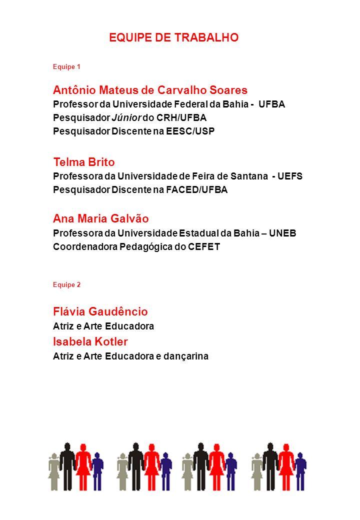 Equipe 1 Antônio Mateus de Carvalho Soares Professor da Universidade Federal da Bahia - UFBA Pesquisador Júnior do CRH/UFBA Pesquisador Discente na EE