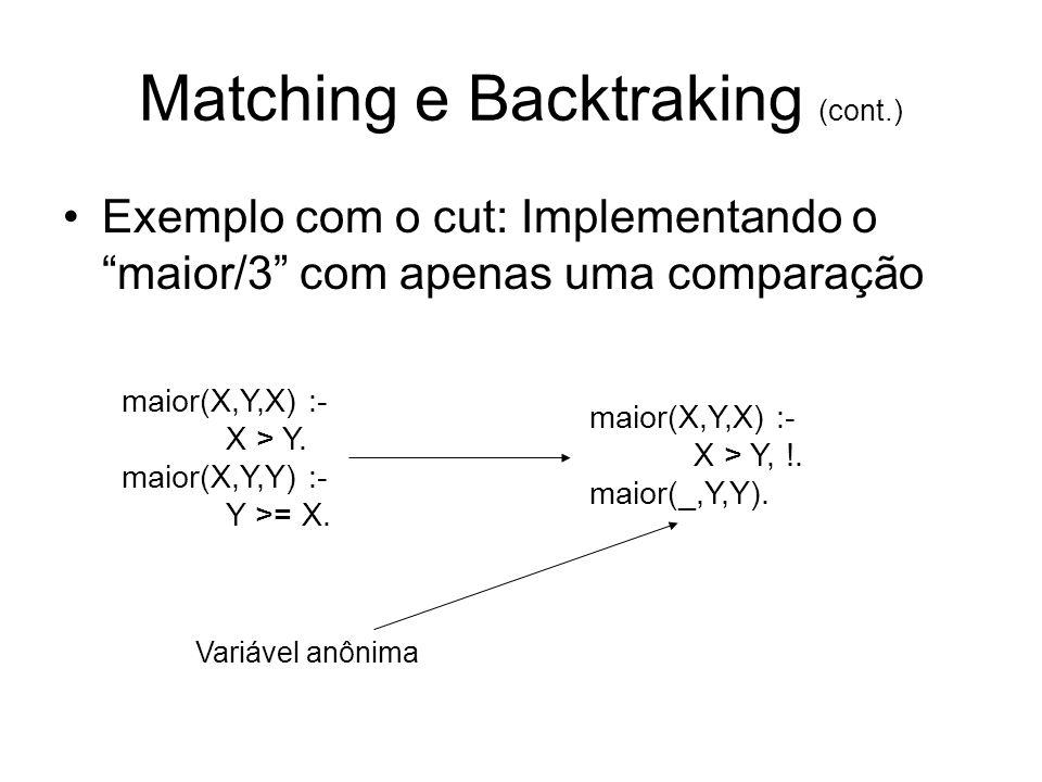Matching e Backtraking (cont.) Exemplo com o cut: Implementando o maior/3 com apenas uma comparação maior(X,Y,X) :- X > Y. maior(X,Y,Y) :- Y >= X. mai
