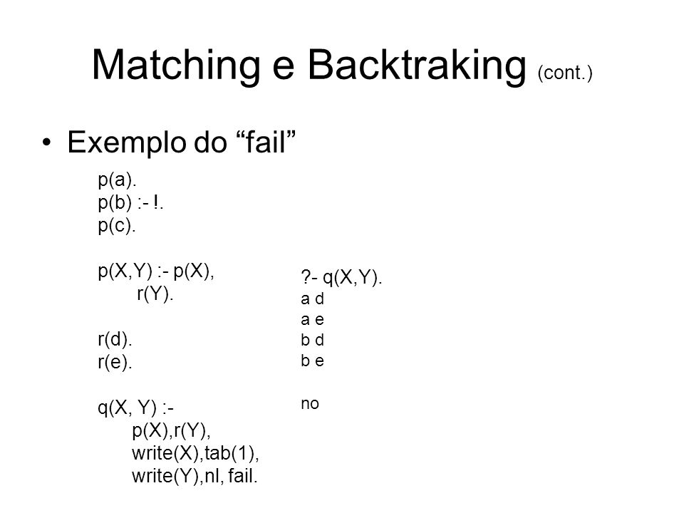 Matching e Backtraking (cont.) Exemplo do fail p(a).