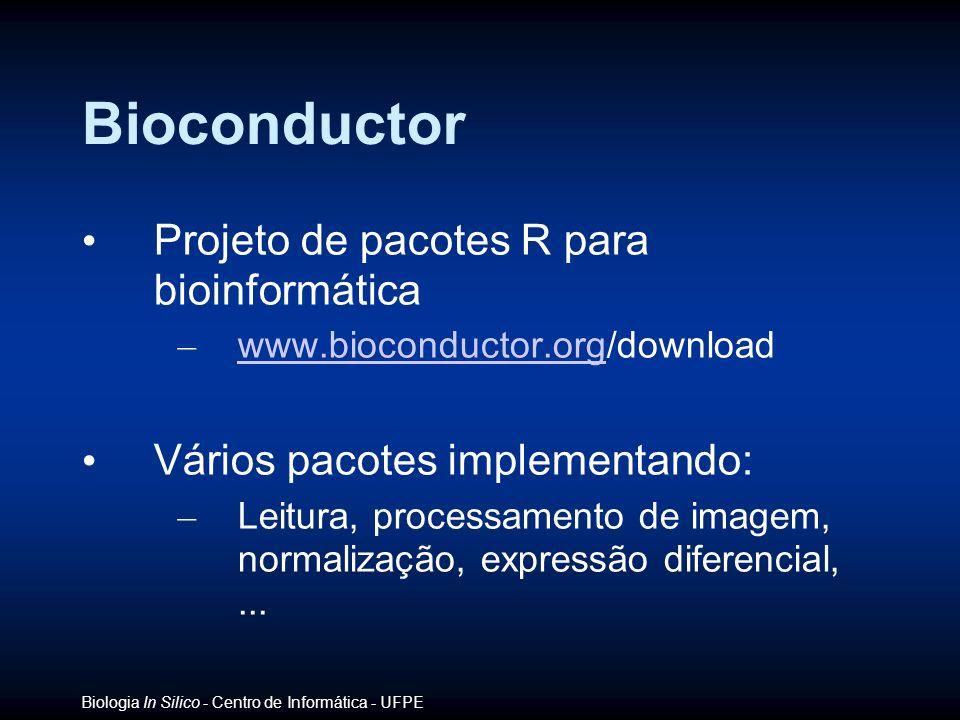 Biologia In Silico - Centro de Informática - UFPE Bioconductor Projeto de pacotes R para bioinformática – www.bioconductor.org/download www.bioconduct