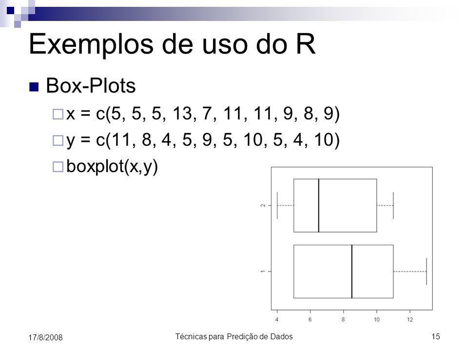 Técnicas para Predição de Dados15 17/8/2008 Exemplos de uso do R Box-Plots x = c(5, 5, 5, 13, 7, 11, 11, 9, 8, 9) y = c(11, 8, 4, 5, 9, 5, 10, 5, 4, 1