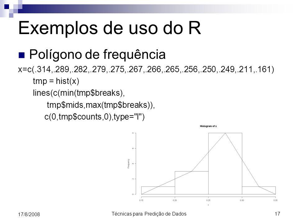 Técnicas para Predição de Dados17 17/8/2008 Exemplos de uso do R Polígono de frequência x=c(.314,.289,.282,.279,.275,.267,.266,.265,.256,.250,.249,.21