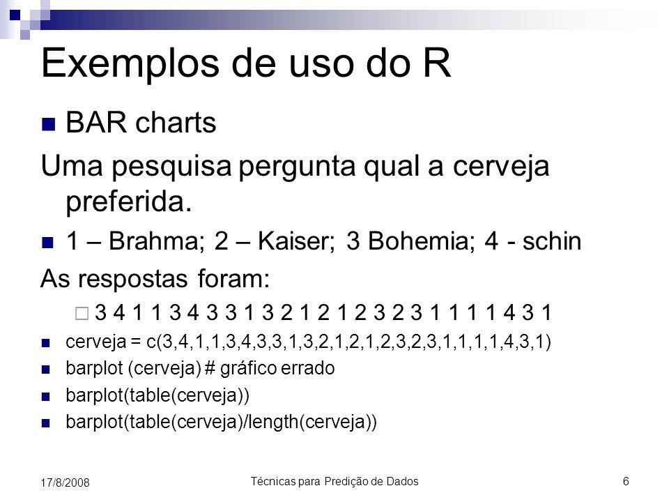 Técnicas para Predição de Dados6 17/8/2008 Exemplos de uso do R BAR charts Uma pesquisa pergunta qual a cerveja preferida. 1 – Brahma; 2 – Kaiser; 3 B