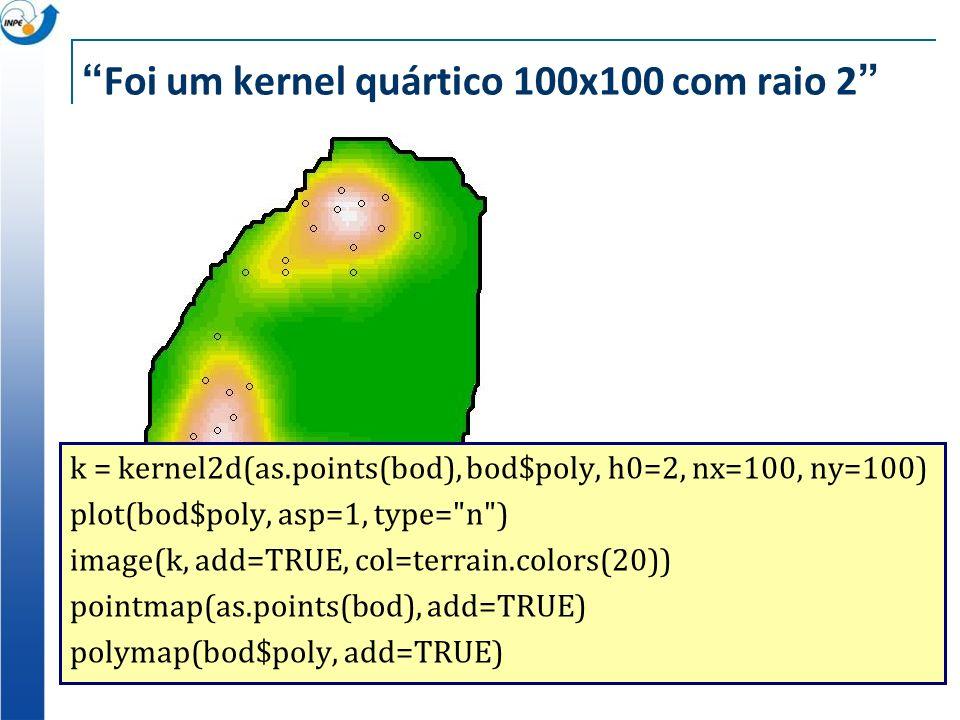 Foi um kernel quártico 100x100 com raio 2 k = kernel2d(as.points(bod), bod$poly, h0=2, nx=100, ny=100) plot(bod$poly, asp=1, type=