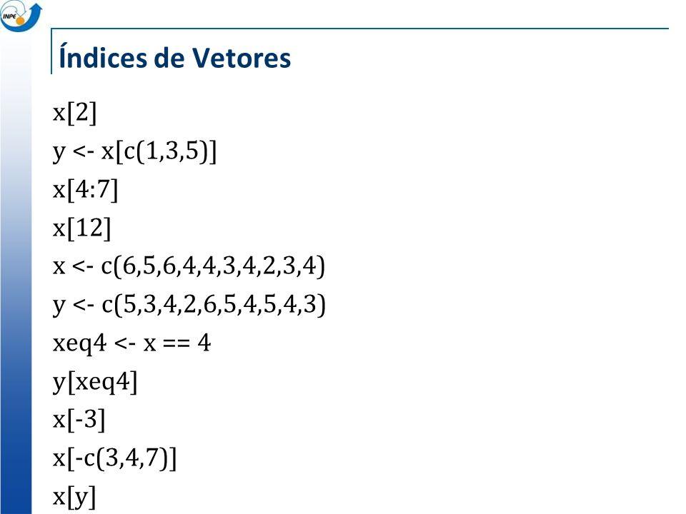 Índices de Vetores x[2] y <- x[c(1,3,5)] x[4:7] x[12] x <- c(6,5,6,4,4,3,4,2,3,4) y <- c(5,3,4,2,6,5,4,5,4,3) xeq4 <- x == 4 y[xeq4] x[-3] x[-c(3,4,7)