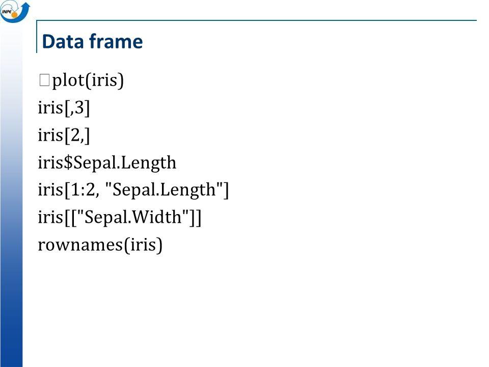 Data frame plot(iris) iris[,3] iris[2,] iris$Sepal.Length iris[1:2,