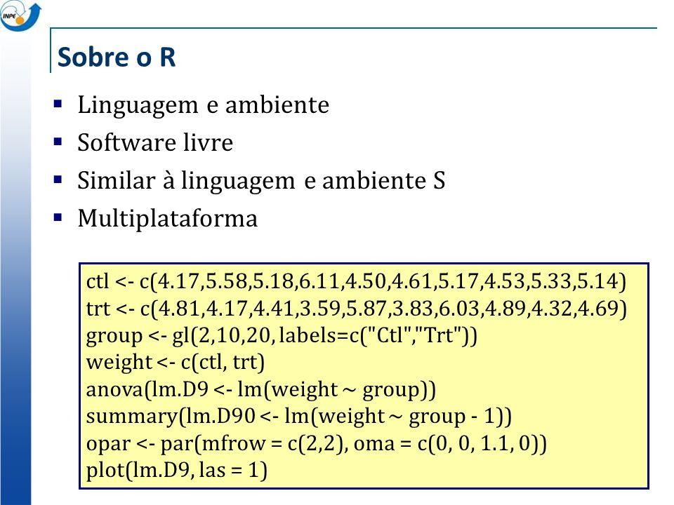 Sobre o R Linguagem e ambiente Software livre Similar à linguagem e ambiente S Multiplataforma ctl <- c(4.17,5.58,5.18,6.11,4.50,4.61,5.17,4.53,5.33,5