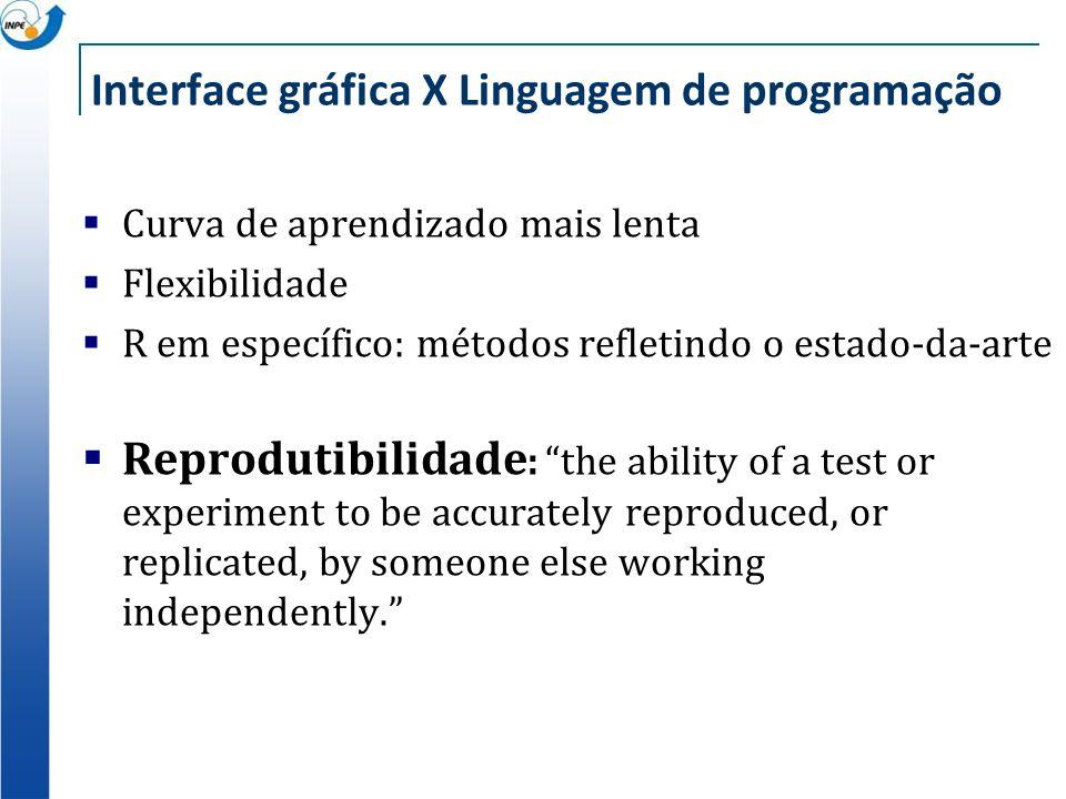 Interface gráfica X Linguagem de programação Curva de aprendizado mais lenta Flexibilidade R em específico: métodos refletindo o estado-da-arte Reprod