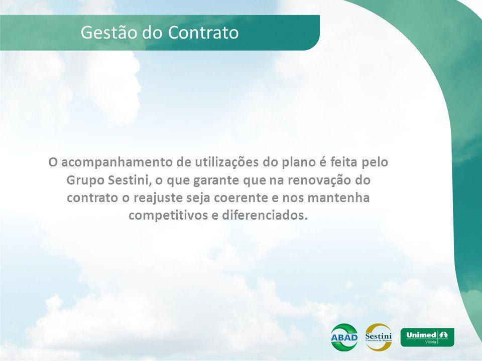 Gestão do Contrato O acompanhamento de utilizações do plano é feita pelo Grupo Sestini, o que garante que na renovação do contrato o reajuste seja coe