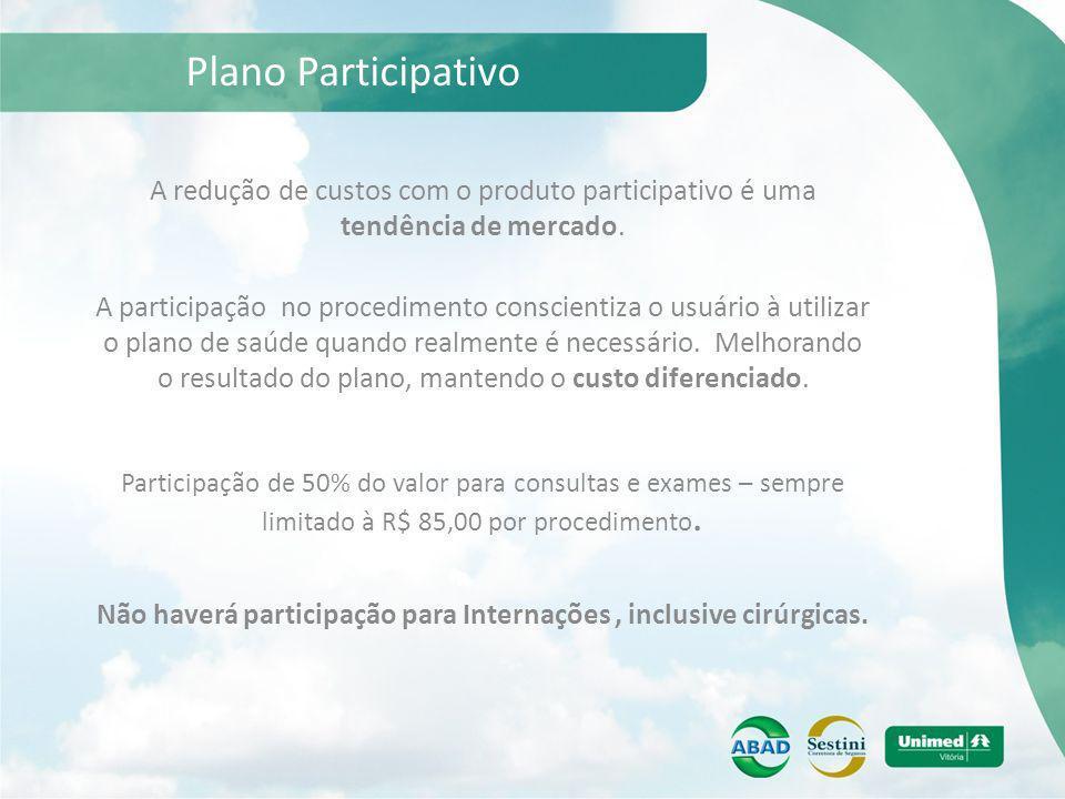 Plano Participativo A redução de custos com o produto participativo é uma tendência de mercado. Participação de 50% do valor para consultas e exames –