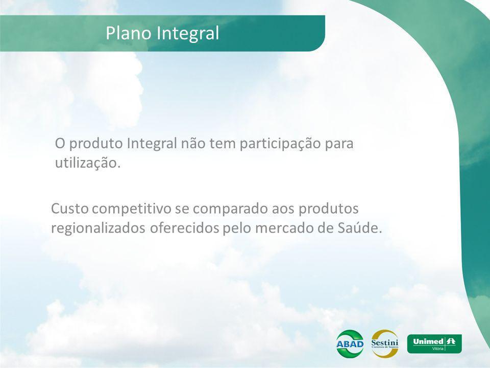Plano Integral O produto Integral não tem participação para utilização. Custo competitivo se comparado aos produtos regionalizados oferecidos pelo mer
