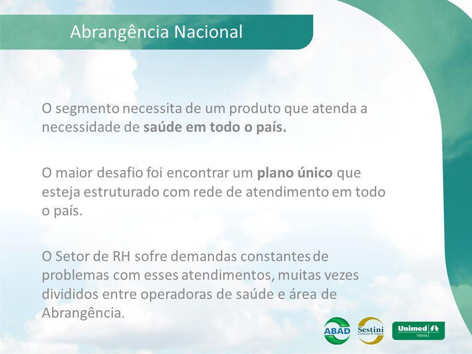 Abrangência Nacional O segmento necessita de um produto que atenda a necessidade de saúde em todo o país. O maior desafio foi encontrar um plano único
