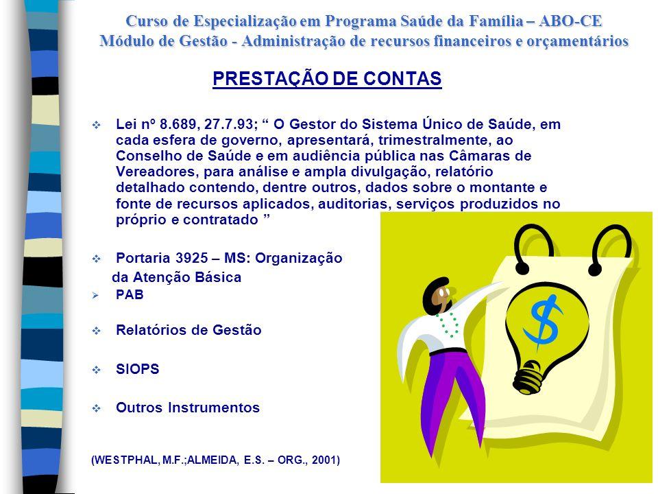 Curso de Especialização em Programa Saúde da Família – ABO-CE Módulo de Gestão - Administração de recursos financeiros e orçamentários FUNDO MUNICIPAL
