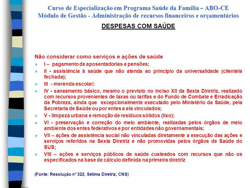 Curso de Especialização em Programa Saúde da Família – ABO-CE Módulo de Gestão - Administração de recursos financeiros e orçamentários DESPESAS COM SA