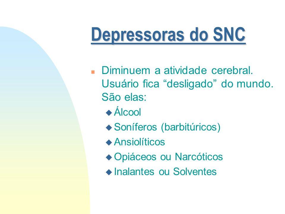 Tipos de Drogas n Depressoras da Atividade do Sistema Nervoso Central (SNC) n Estimulantes da Atividade do SNC n Perturbadoras da Atividade do SNC n O
