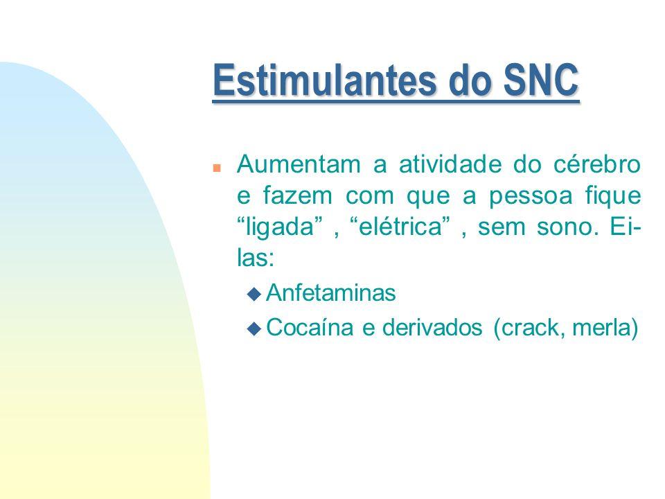 Depressoras do SNC n Diminuem a atividade cerebral. Usuário fica desligado do mundo. São elas: u Álcool u Soníferos (barbitúricos) u Ansiolíticos u Op