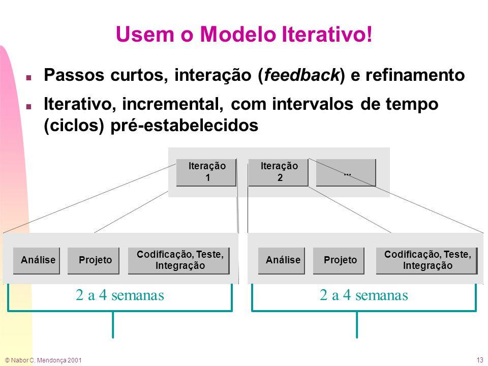 © Nabor C. Mendonça 2001 13 Usem o Modelo Iterativo! n Passos curtos, interação (feedback) e refinamento n Iterativo, incremental, com intervalos de t