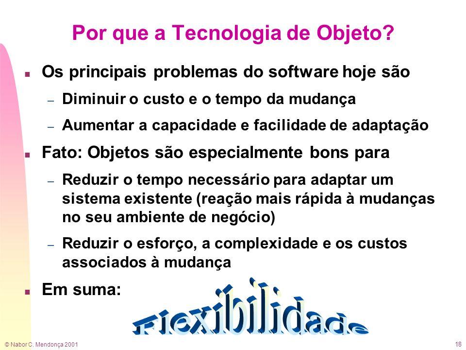 © Nabor C. Mendonça 2001 18 Por que a Tecnologia de Objeto? n Os principais problemas do software hoje são – Diminuir o custo e o tempo da mudança – A