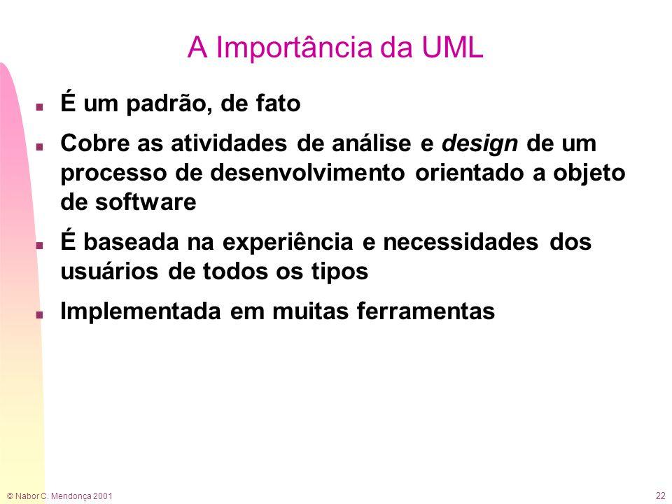 © Nabor C. Mendonça 2001 22 A Importância da UML n É um padrão, de fato n Cobre as atividades de análise e design de um processo de desenvolvimento or