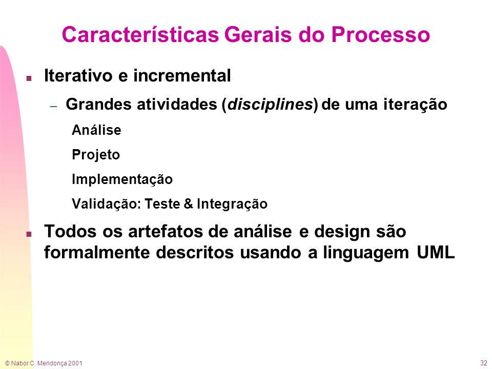 © Nabor C. Mendonça 2001 32 Características Gerais do Processo n Iterativo e incremental – Grandes atividades (disciplines) de uma iteração Análise Pr