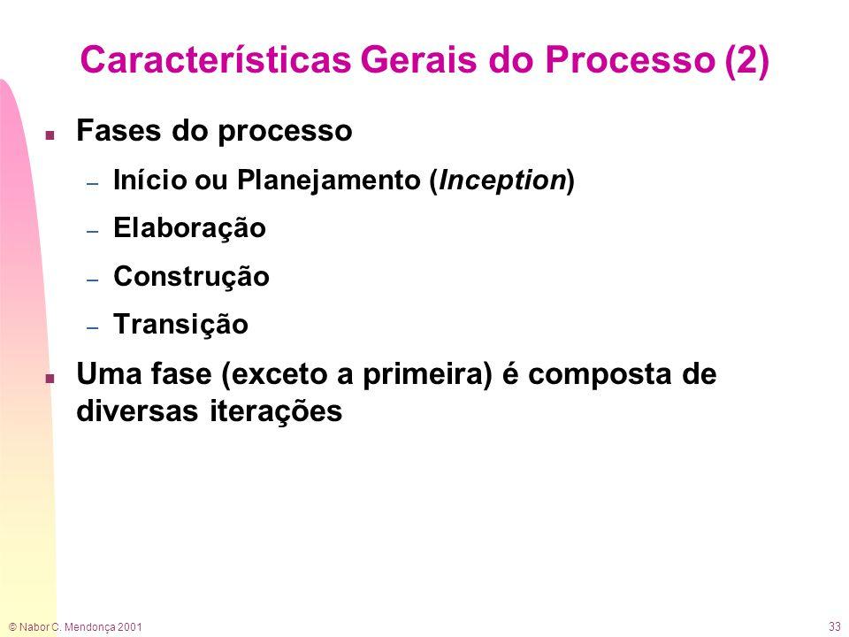 © Nabor C. Mendonça 2001 33 Características Gerais do Processo (2) n Fases do processo – Início ou Planejamento (Inception) – Elaboração – Construção