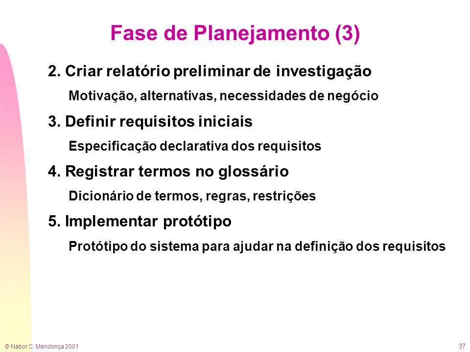 © Nabor C. Mendonça 2001 37 Fase de Planejamento (3) 2. Criar relatório preliminar de investigação Motivação, alternativas, necessidades de negócio 3.