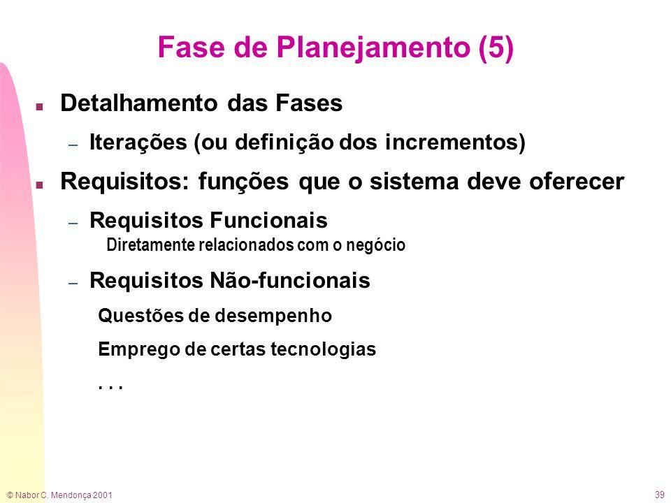 © Nabor C. Mendonça 2001 39 Fase de Planejamento (5) n Detalhamento das Fases – Iterações (ou definição dos incrementos) n Requisitos: funções que o s