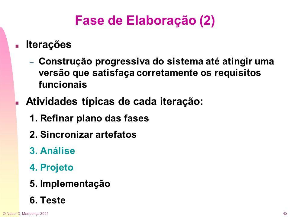 © Nabor C. Mendonça 2001 42 Fase de Elaboração (2) n Iterações – Construção progressiva do sistema até atingir uma versão que satisfaça corretamente o