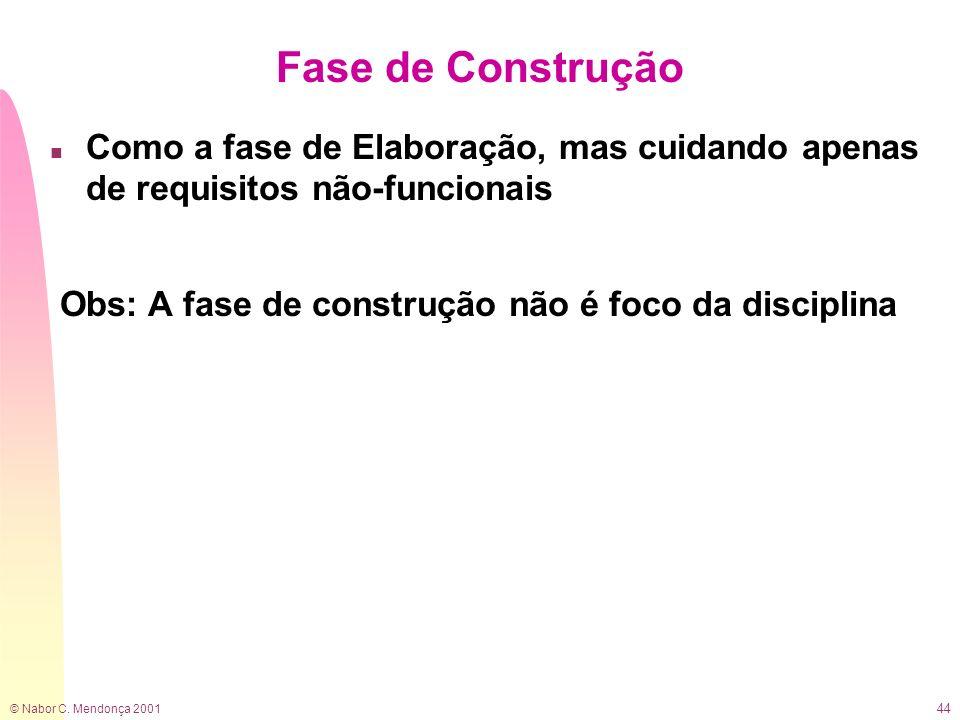 © Nabor C. Mendonça 2001 44 Fase de Construção n Como a fase de Elaboração, mas cuidando apenas de requisitos não-funcionais Obs: A fase de construção