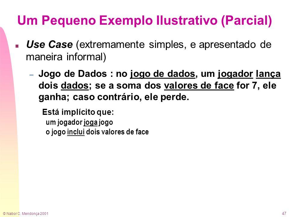 © Nabor C. Mendonça 2001 47 Um Pequeno Exemplo Ilustrativo (Parcial) n Use Case (extremamente simples, e apresentado de maneira informal) – Jogo de Da