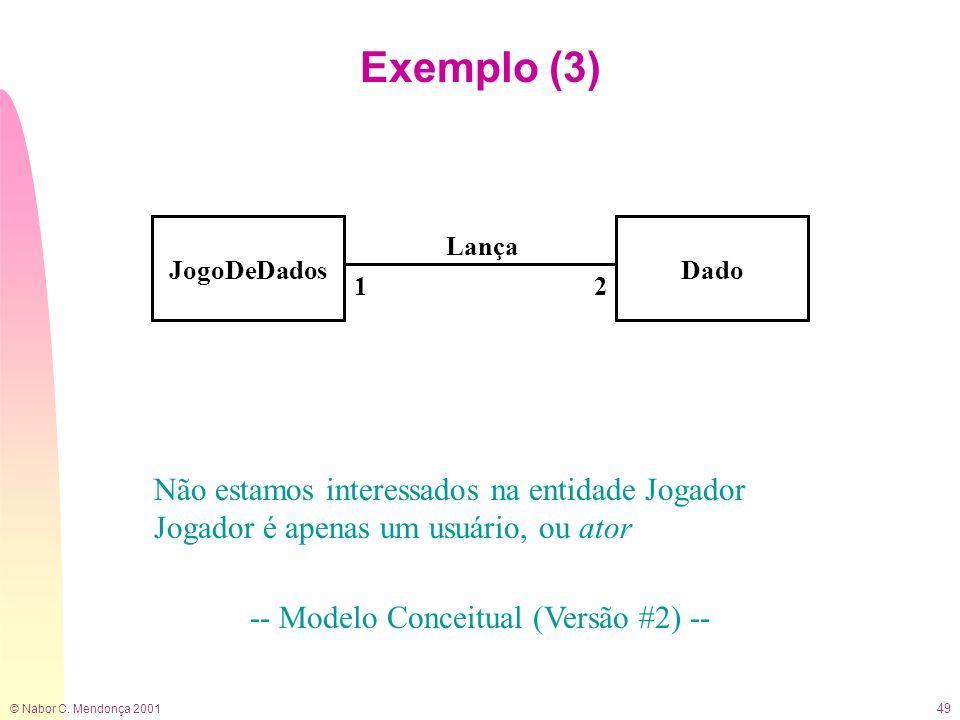 © Nabor C. Mendonça 2001 49 Exemplo (3) -- Modelo Conceitual (Versão #2) -- JogoDeDadosDado 21 Lança Não estamos interessados na entidade Jogador Joga