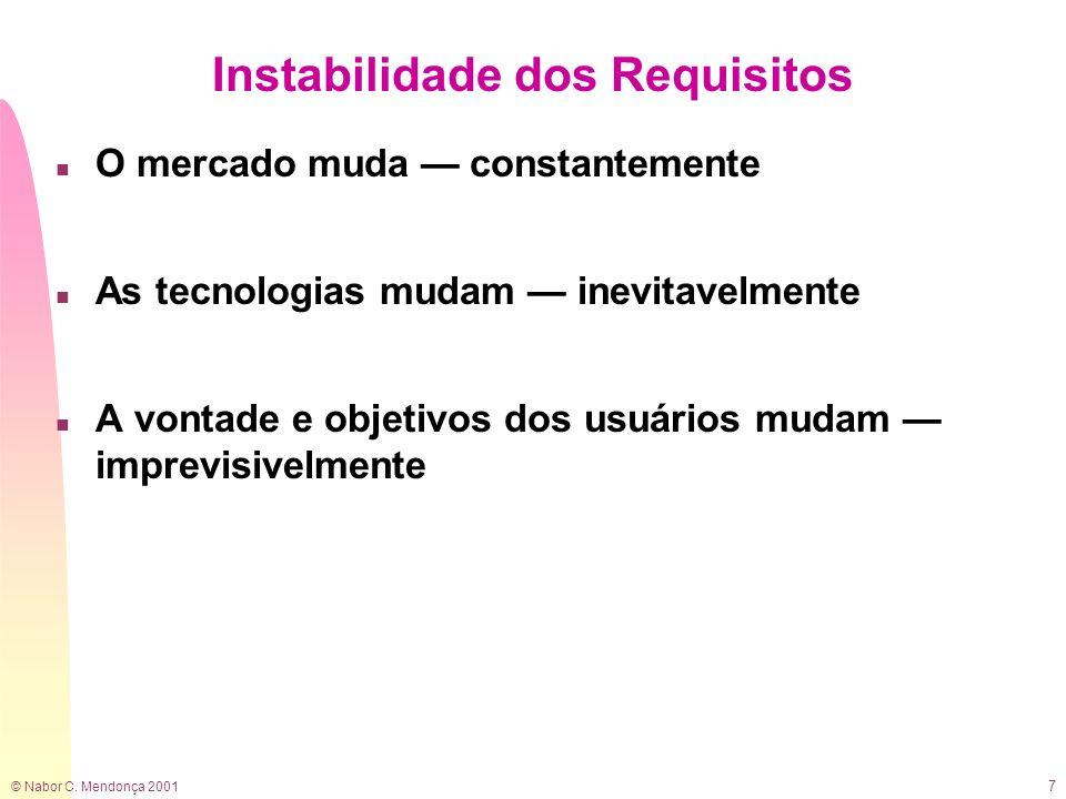 © Nabor C. Mendonça 2001 7 Instabilidade dos Requisitos n O mercado muda constantemente n As tecnologias mudam inevitavelmente n A vontade e objetivos