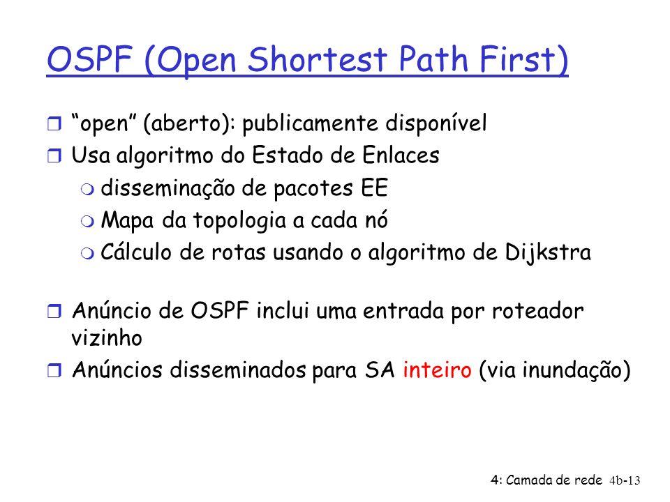 4: Camada de rede4b-13 OSPF (Open Shortest Path First) r open (aberto): publicamente disponível r Usa algoritmo do Estado de Enlaces m disseminação de